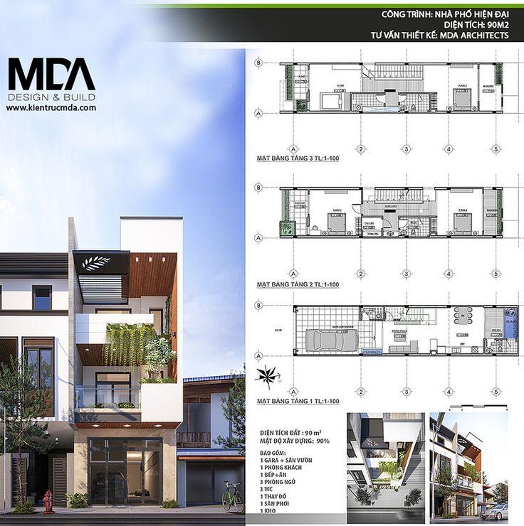 Kiến trúc nhà phố hiện đại 90m2 - Tư vấn thiết kế: Kiến trúc MDA