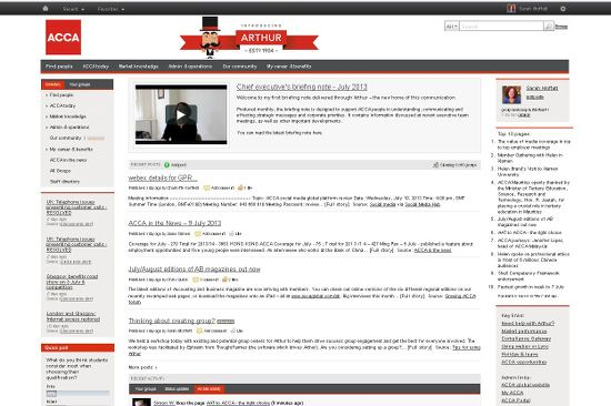 home page of acca u0026 39 s thoughtfarmer intranet  arthur