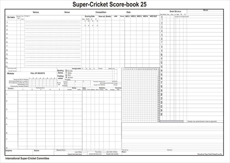 Cricket Score Sheet Places to Visit Pinterest – Cricket Score Sheet