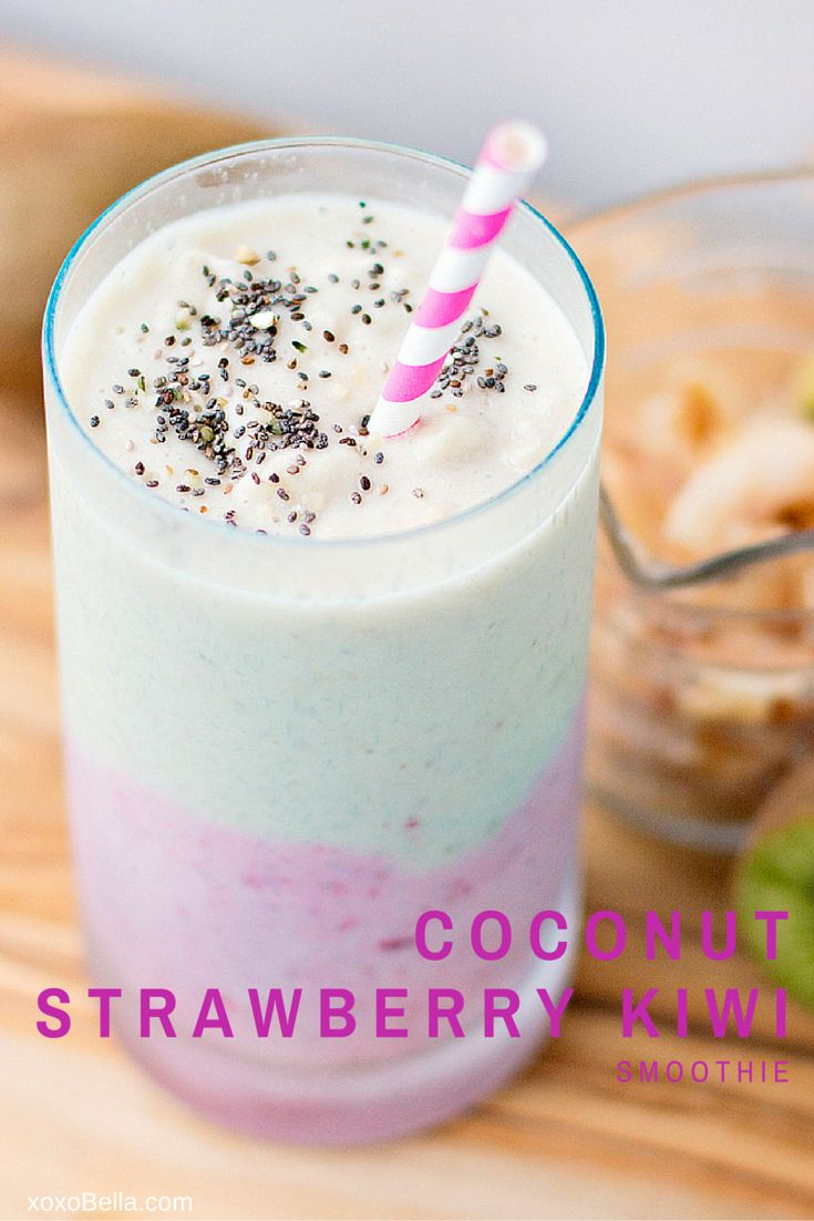 Coconut Strawberry Kiwi Smoothie xoxoBella.com