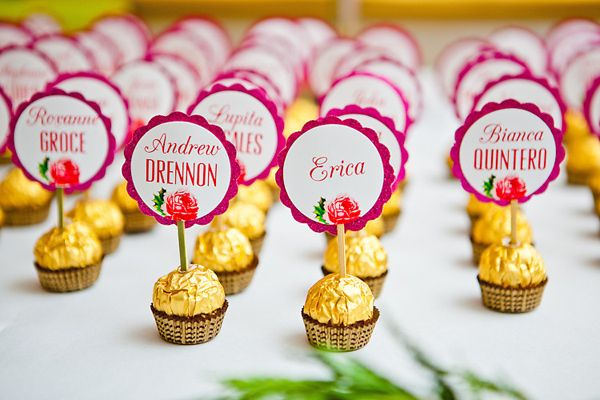 Gold foil-wrapped chocolates for escort 'cards'