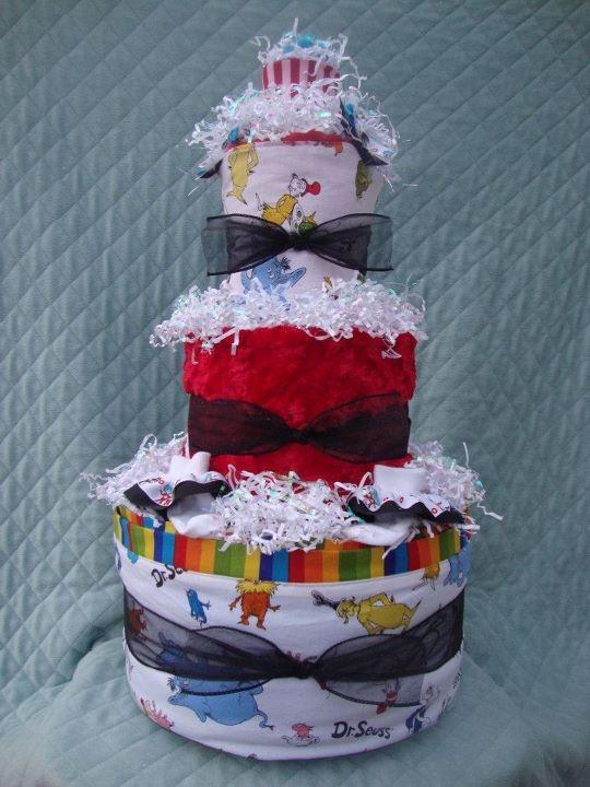 Dr. Suess diaper cake. FB: Devon's Cakes and Crafts