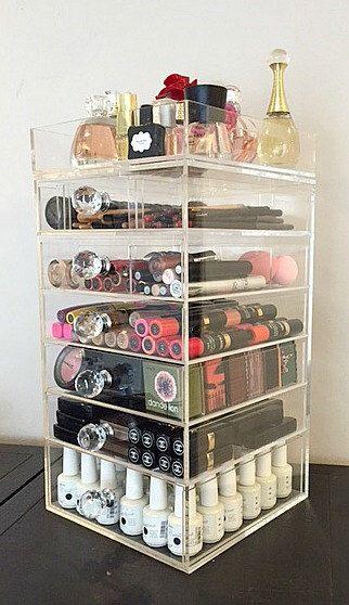 Clear Acrylic Makeup Organizer 7 Tier Round Crystal Knob by MakeupOrganizer on Etsy https://www.etsy.com/listing/209226390/clear-acrylic-makeup-organizer-7-tier
