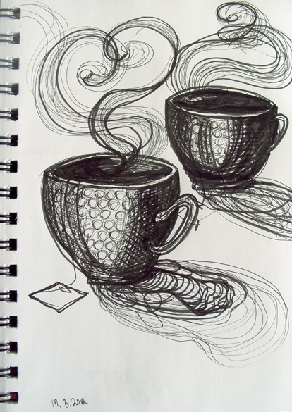 tea drawings. I love quick sketches like this. A mixed media thing of this drawn over it would look cool!