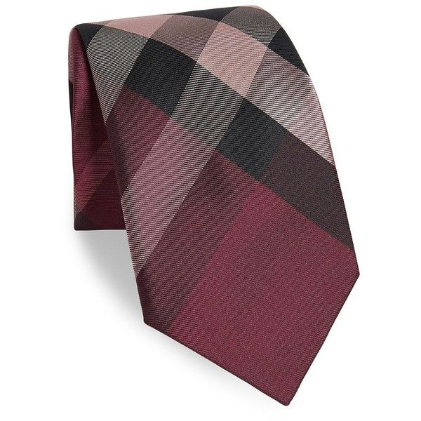 Burberry Printed Silk Tie (620 BRL) ❤ liked on Polyvore featuring men's fashion, men's accessories, men's neckwear, ties, mens ties, mens plaid ties, mens pink tie, mens tartan tie and men's silk ties