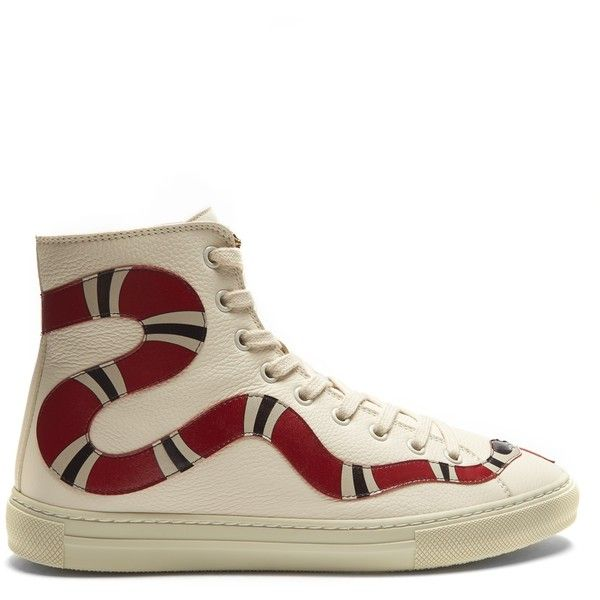 Gucci Major snake-appliqué high-top leather trainers (5384115 PYG) ❤ liked on Polyvore featuring shoes, sneakers, red white, red hi tops, leather high top sneakers, red hi top sneakers, red high tops and white sneakers