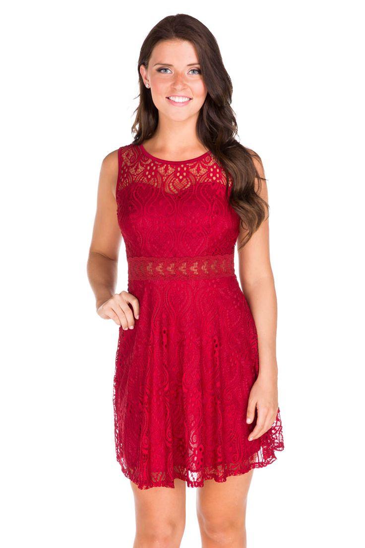 Crochet Sheer Waist Skater Dress