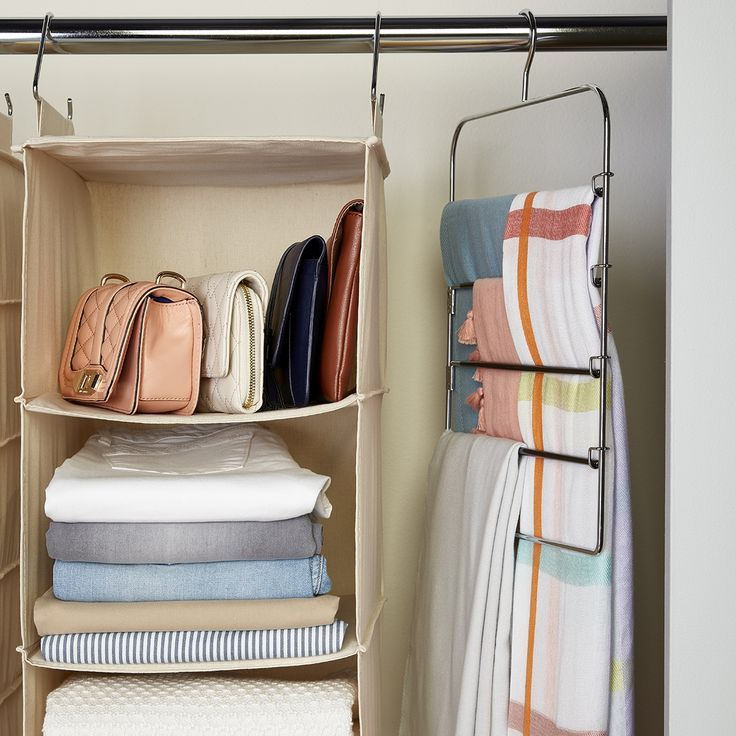 Hanging Closet Organizers Are A Great Way To Make The Most Of The Vertical Space In Your Cl Hanging Closet Storage Hanging Closet Organizer Diy Clothes Storage