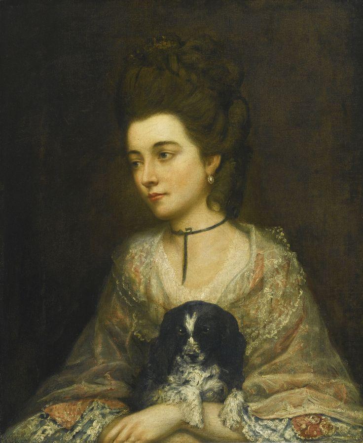 Follower of Thomas Gainsborough, R.A., 19th C PORTRAIT OF A LADY HOLDING A SPANIEL