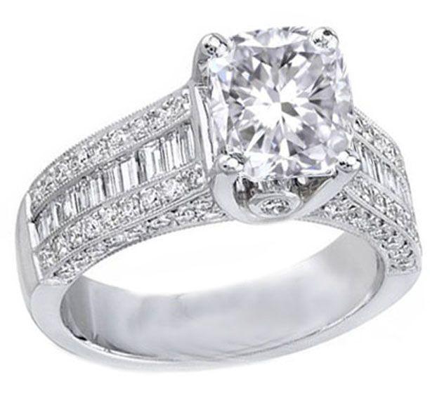 Cushion Diamond Engagement Ring Three Row Baguette