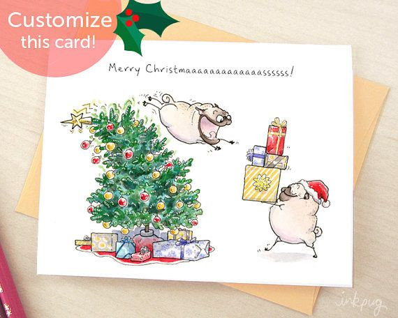 Christmas brings everyone together! More Christmas & holiday stuff here: http://etsy.me/2xWXktK  5.5x4.25 greeting card + envelope Printed with vibrant dye inks on heavyweight cotton paper ►Inside: blank inside, or your message printed inside! ►Front: sample caption (Merry