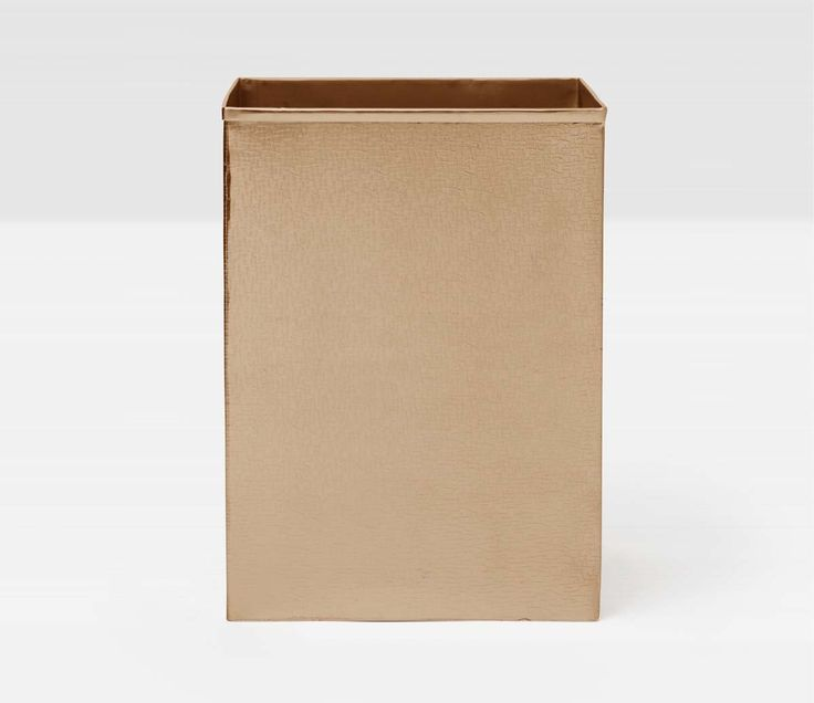 Pigeon & Poodle Tiset Square Wastebasket in Antique Brass Finish and Optional Tissue Box from The Well Appointed House