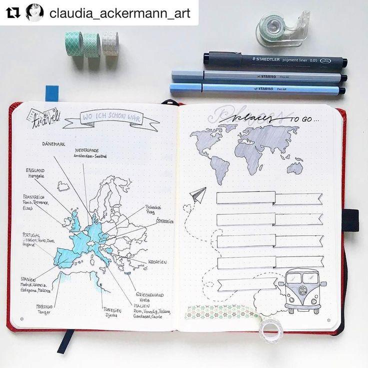 #Repost from the talented @claudia_ackermann_art in 🇩🇪! ・・・ In meinem Notizbuch von #dingbats gibt es jetzt auch eine #travellist. Eine…