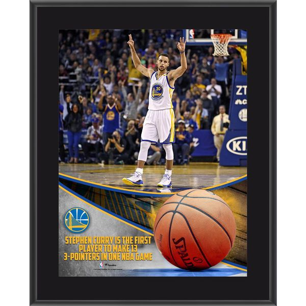 "Stephen Curry Golden State Warriors Fanatics Authentic 10.5"" x 13"" NBA Record 13 3-Pointers Sublimated Plaque - $29.99"