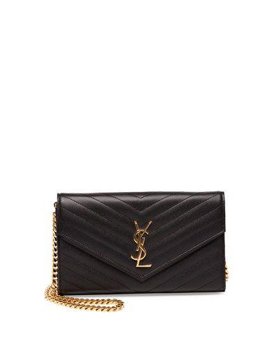 Yves Saint Laurent Monogram Matelasse Shoulder Bag, Black, Women\u0026#39;s ...