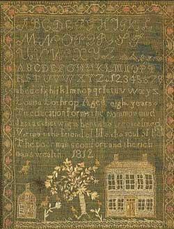 1812 Sampler by Louise Lothrop, Mass. #sampler
