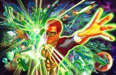Alex Ross- Green lantern movie art watercolor Original Comic Art  - W.B.
