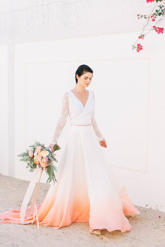 Sunset Colored Ombre Two Piece Wedding Dress