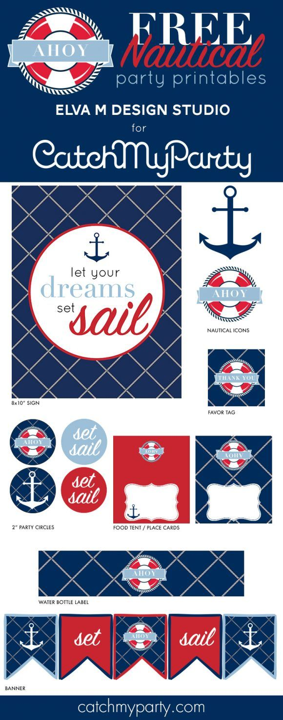 Free nautical birthday and baby shower party printables | CatchMyParty.com