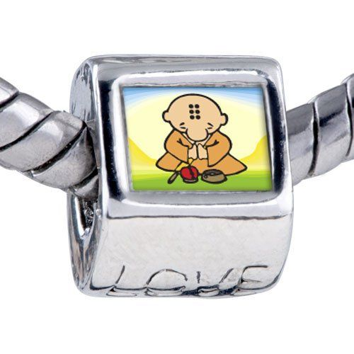 Pugster Bead Religion Buddhism Little Monk Photo Love European Charm Beads Fits Pandora Bracelet Pugster. $12.49. It's the photo on the love charm. Fit Pandora, Biagi, and Chamilia Charm Bead Bracelets. Unthreaded European story bracelet design. Hole size is approximately 4.8 to 5mm. Bracelet sold separately