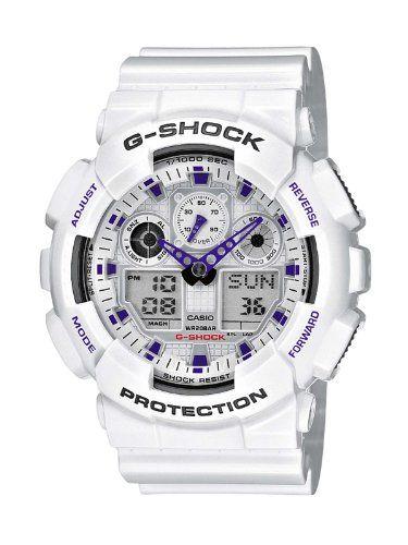 g-shock GA-100A: Montre pour Homme à mouvement Quartz - Bracelet en Résine Blanc Type d'affichage : Analogique - Digital Diamètre du cadran…
