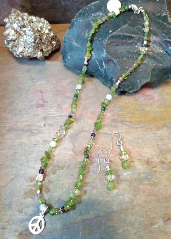 Necklace and Earring SET  Sterling Peace pendant.  Sterling bird bead. Peridot, Citrine, Iolite, Amethyst, Serpentine, Garnet, Unakite, Ruby Zoisite mixed beads,All-natural, semi precious stones. Sterling Silver. // Grizzly Meadows Jewelry
