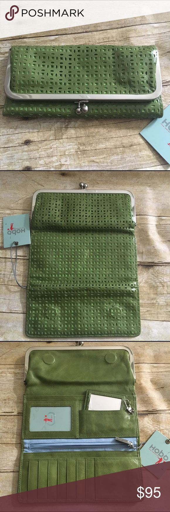 NWT Hobo green leather clutch wallet NWT Hobo green leather clutch wallet. Perforated green leather. NWT. Never used. You can slip your phone in the change section. Nonsmoking home. HOBO Bags Clutches & Wristlets