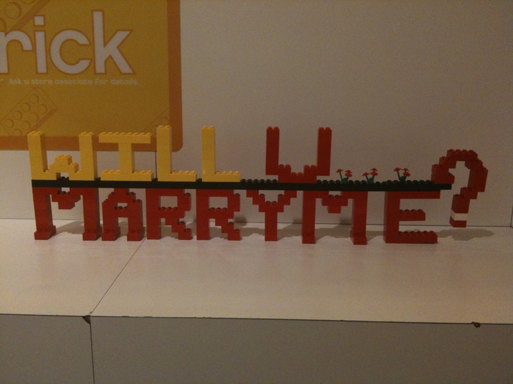 What did you do today? Oh nothing just help someone propose with LEGO.     One day at work someone called in saying they wanted to propose to their loved one using #lego and only gave me 45 min warning, so I made a quick and dirty lego sign for him. Unfortunately for me i missed the actual proposal due to my small bladder... c'est la vie
