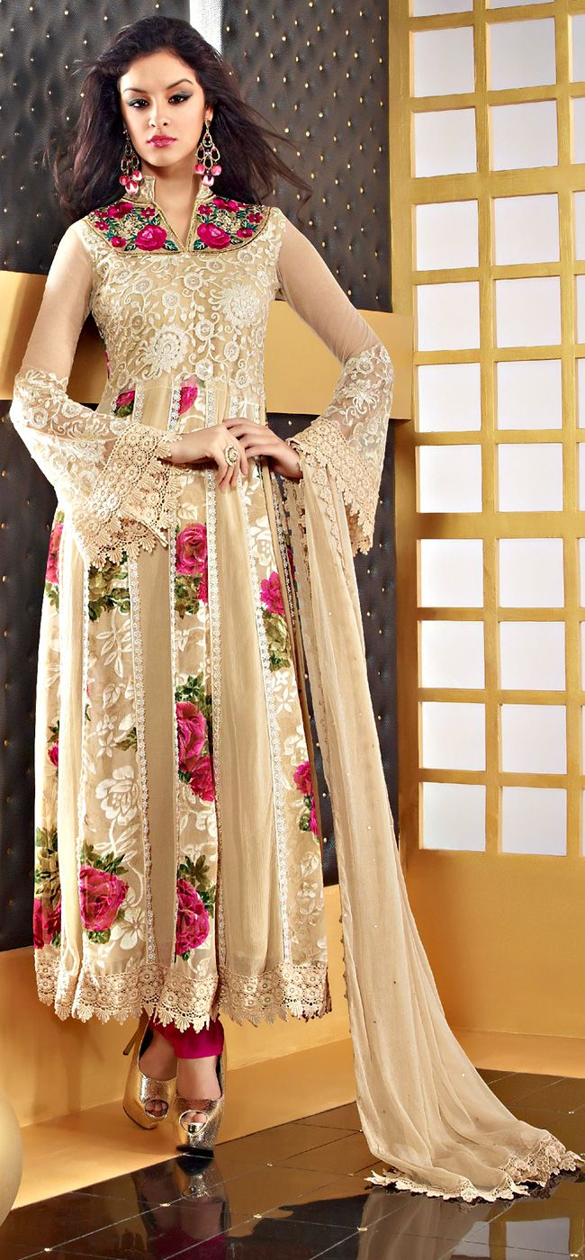 "Cream Color Faux Chiffon Fabrics Anarkali Suit ITEM CODE :- SLRC 2113 PRICE;- 5215/- INR Style: Anarkali Suit sleeve style: Sleeveless, Long Sleeve (18"" to 21"") size: 38"", 32"", 36"", 34"", 42"", 40"" occasion: Wedding, Festival, Reception fabric: Faux Chiffon color: Cream Catalog No.: 1150 work: Embroidered, Resham , Gota Patti SHOP THIS SAREE FROM HERE http://www.vivaahsurat.com/salwar-kameez/cream-color-faux-chiffon-fabrics-anarkali-suit-slrc2113"