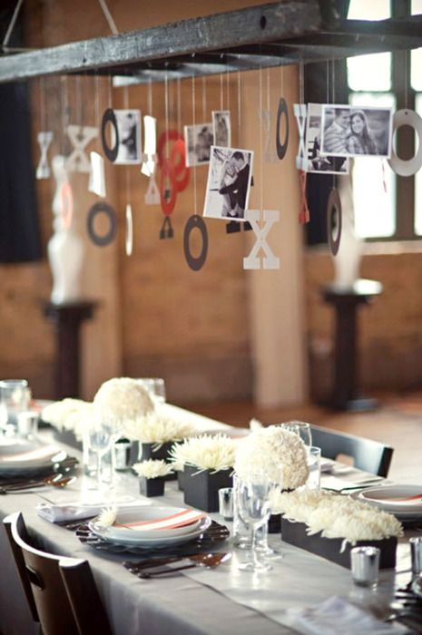great idea above the table...: Weddingidea, Rehearsal Dinner, Valentines, Decoration, Wedding Ideas, Ladders, Table Setting, Hanging Photos, Party Ideas