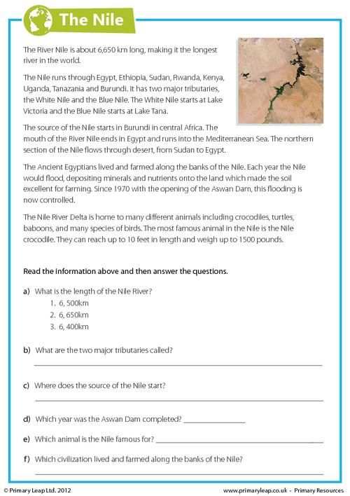 This year 6 geography worksheet includes interesting facts about the River Nile. Children read the comprehension and answer the questions. www.primaryleap.co.uk