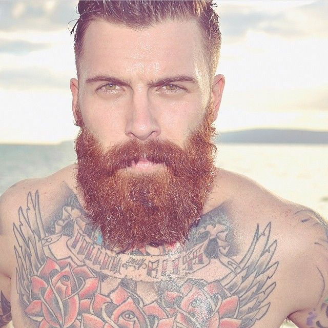 very handsome red beard and thick mustache nice eyes