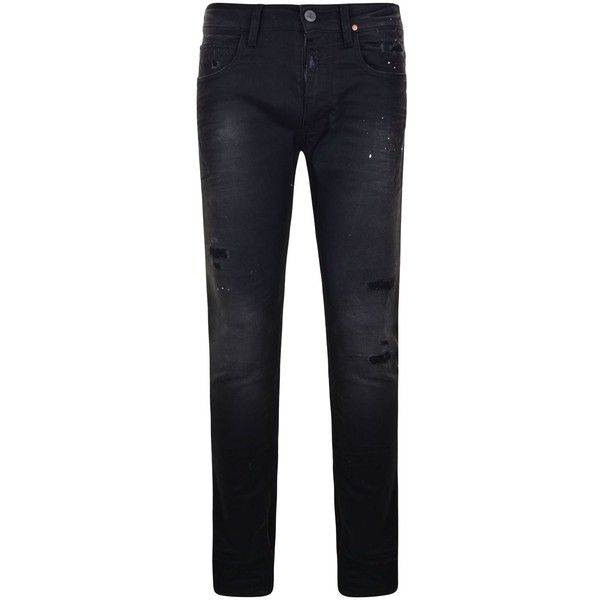 VIVIENNE WESTWOOD ANGLOMANIA Rock N Roll Distressed Paint Skinny Jeans ($145) ❤ liked on Polyvore featuring men's fashion, men's clothing, men's jeans, mens rock and roll jeans, mens distressed jeans, mens distressed skinny jeans, mens destroyed jeans and mens torn jeans