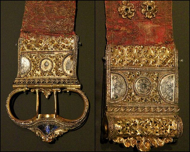 Victoria and Albert Museum, From newly opened Renaissance Medieval rooms  1450-1500 Italy, Gold brocade gilded silver buckle with enamel...