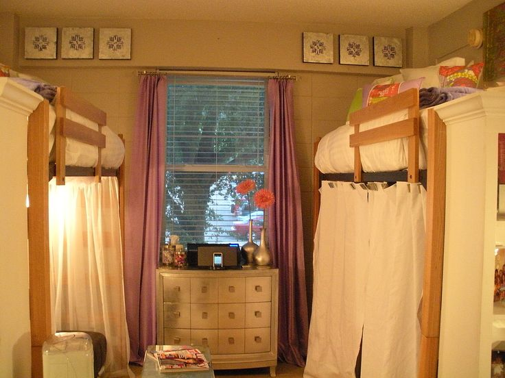 Dorm Room- I love the idea of curtains around your desk, put some head phones in and you can study while your roommate watches tv or something!