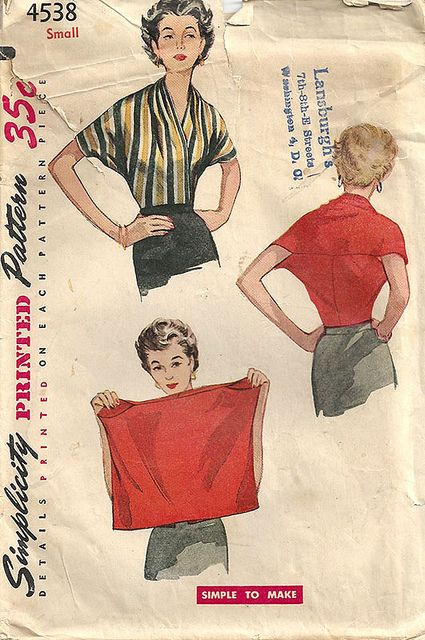 Vintage 1950s Simplicity 4538  two-seam top by elegant musings  (My note: tie either end of a piece of elastic around middle of upper arms, crossing back. If comfortable to reach forward then that is the right width.)