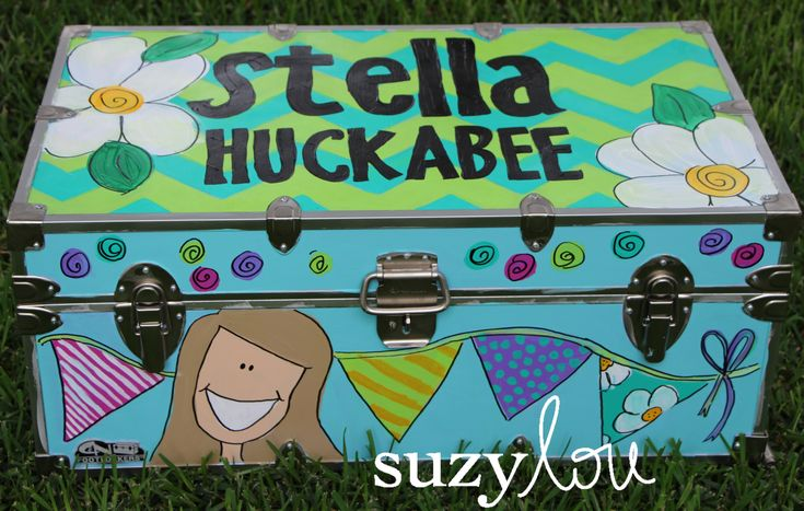 Custom painted summer camp trunks by Suzy Lou