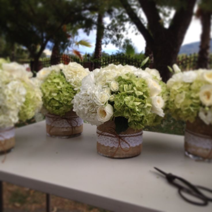 green and white centerpieces