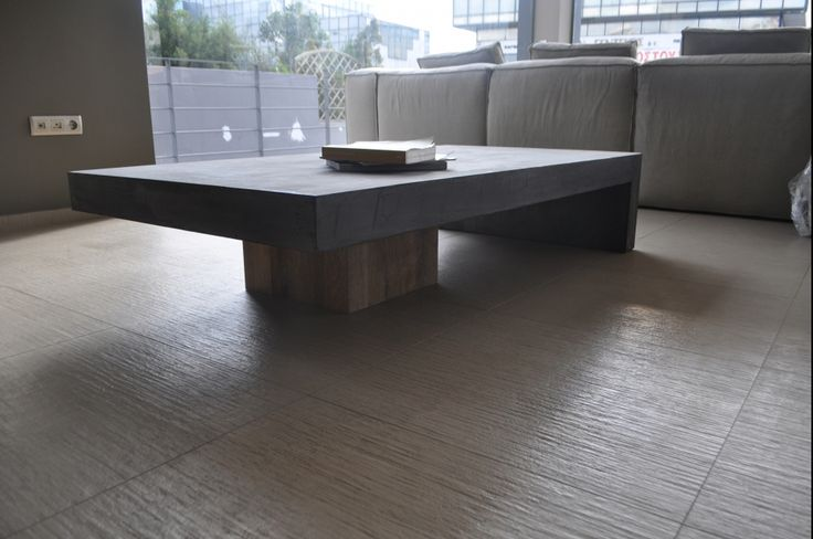 Custom made coffee table, concrete, cement mortar, solid wood, grey, interior design, greek