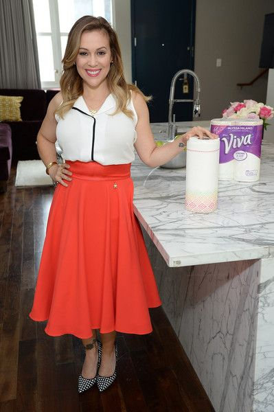 Alyssa Milano Photos Photos - Alyssa Milano teams up with Viva Brand to transform traditional paper towels into kitchen couture with the launch of the Alyssa Milano Signature Designs by Viva Towels September 1, 2015 in West Hollywood, California.  (Photo by Michael Kovac/Getty Images for Viva (Kimberly-Clark)) - Alyssa Milano Signature Designs by VIVA Towels