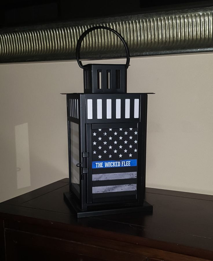 Law Enforcement Support - Proverbs 28:1 The Wicked Flee Thin Blue Line Lantern, Lighted Reflections are one of a kind products!! by LightedReflections on Etsy https://www.etsy.com/listing/244320372/law-enforcement-support-proverbs-281-the