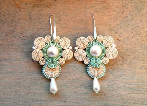 Soutache earrings Mint cream dangle wedding by ShoShanaArt on Etsy