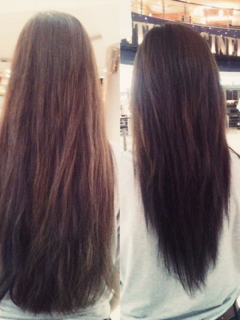 V-layered haircut - before and after. I want this done to mine :)