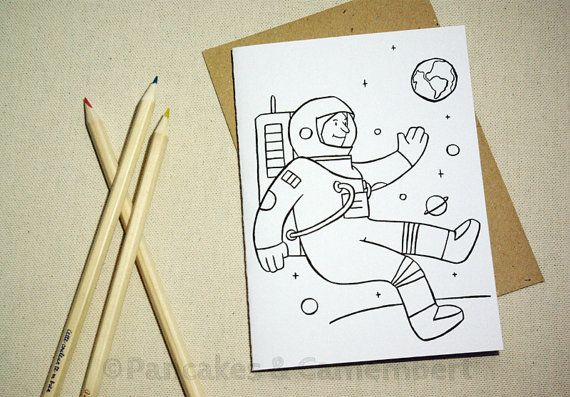 Coloring card - Astronaut by PancakesCamembert on Etsy, €3.50
