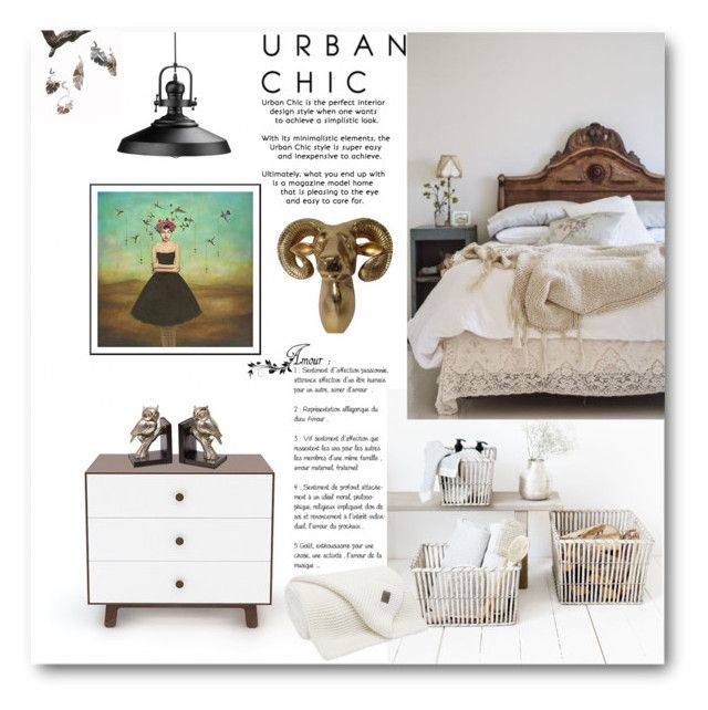 """Urban Chic"" by loveartrecyclekardstock ❤ liked on Polyvore featuring interior, interiors, interior design, home, home decor, interior decorating, House Doctor, Urban Outfitters, Urban Trends Collection and bedroom"
