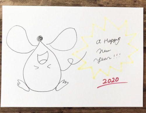 2020年干支ねずみ年【おしゃれなネズミの手書きイラスト・年賀状