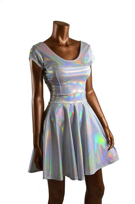 Silvery White Hologram Holographic Scoop Neck Cap Sleeve Fit and Flare Skater Skate Dress Rave Clubwear EDM -E7720