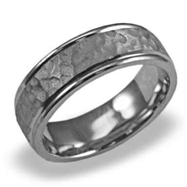 Great Mens Wedding Band In Platinum Hammered Polished Edge