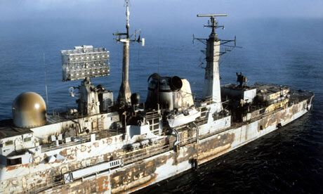 Charred remains of HMS Sheffield hit by an Exocet missile.