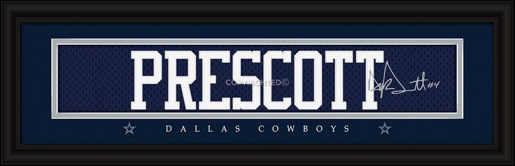 New! Dallas Cowboys Dak Prescott Print - Signature 8 inch x 24 inch #DallasCowboys